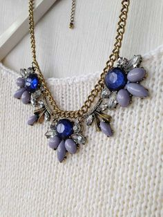 Blue Jewel Crystal Statement Necklace by CostumeJewelryStore, $9.50