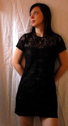 Cocktail Dress Black Lace With Sequins Shift Style #Glimpse_by_TheFind