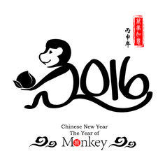 Chinese 2016 new year with monkey year creative vector 05