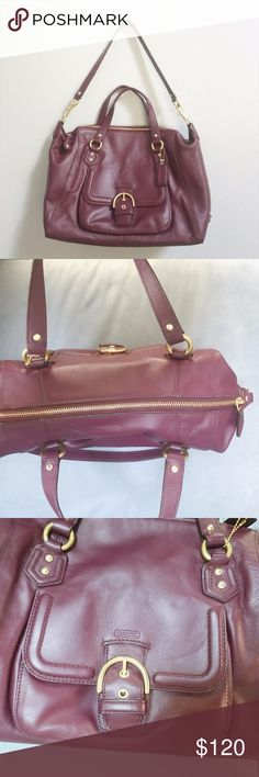 COACH Satchel Purse in Deep Purple-Red Color COACH Satchel Purse in Deep Purple-Red Color with front pocket // in GREAT used condition! // leather is a bit broken in but no scuffs or marks Coach Bags Satchels