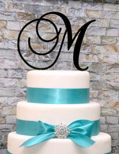 Custom - 6 inch Monogram Acrylic Wedding Cake Topper in Any Letter A B C D E F G H I J K L M N O P Q R S T U V W X Y Z on Etsy, $17.00