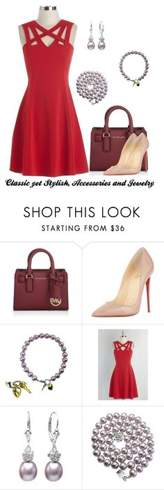 """""""Shine bright and stand out this Valentine's day with our Pearls!"""" by dahlia-jewels on Polyvore featuring Michael Kors, Christian Louboutin, women's clothing, women, female, woman, misses, juniors, pearl and valentine"""