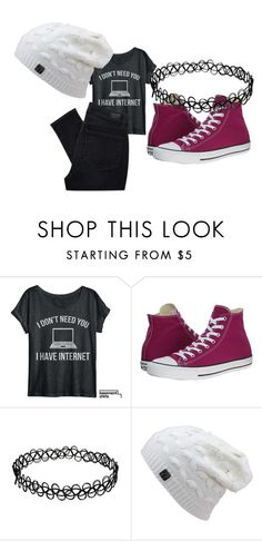 """""""Untitled #4504"""" by kris-mathers ❤ liked on Polyvore featuring Converse, Paige Denim, women's clothing, women, female, woman, misses and juniors"""
