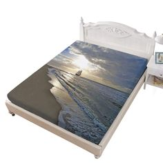 King Size Fitted Sheet,A Sailing Ship Close to Sandy Beach in Moody Sunset Paradise Tropical Theme Bed Cover with All-Round Elastic Deep Pocket for Oversized Mattress,Blue Beige White White King Size Bed, King Size Bed Sheets, Bed Covers, Sailing Ships, Mattress, Paradise, Tropical, Deep, Beige