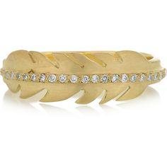 Ileana Makri Eagle Feather 18-karat gold diamond ring ($1,715) ❤ liked on Polyvore