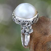 Pearl flower ring, 'Bridal Moon' from @NOVICA, They help #artisans succeed worldwide.