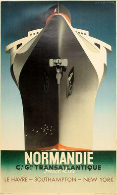 RARE ORIGINAL NORMANDIE POR CASSANDRE POSTER 1938