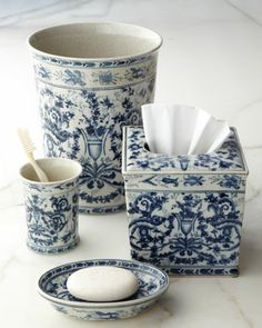 Blue & White Toile Porcelain Vanity Accessories at Horchow. |||  Tissue cover, 125.00 |||  wastebasket, 180.00 |||  cup, 45.00 |||  soap dish, 45.00