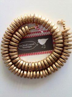 Bright Gold Wooden Disk Simple Statement by TheBirdsWordBoutique