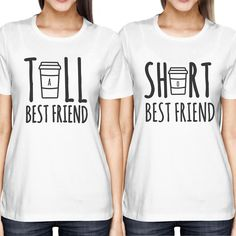 Cute Best Friend Tall and Short Matching TShirt BFF Shirts For Coffee Lovers                                                                                                                                                                                 More