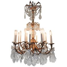 Elegant Late 19th C. Rococo Dore Bronze and Crystal Large 15 Light Chandelier