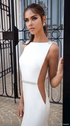 elihav sasson 2018 capsule bridal sleeveless bateau neck simple clean bodice open side drop waist elegant a line weddng dress low open back chapel train zv -- Elihav Sasson 2018 Royalty Girl Capsule Collection Elegant Dresses, Sexy Dresses, Evening Dresses, Fashion Dresses, Formal Dresses, Bridal Collection, Dress Collection, Simple Wedding Gowns, Gorgeous Wedding Dress