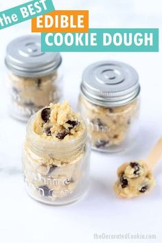 Edible chocolate chip cookie dough recipe. Safe to eat with heat-treated flour and no eggs. Great homemade gift idea packaged in little jars. Cookie Dough Recipes, Edible Cookie Dough, Best Cookie Recipes, Best Dessert Recipes, Sweet Recipes, Delicious Desserts, Yummy Recipes, Recipies, Easy Homemade Recipes