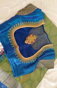 Latest Silk Saree Blouse Designs for Wedding - ArtsyCraftsyDad Silk Saree Blouse Designs, Saree Blouse Patterns, Bridal Blouse Designs, Blouse Neck Designs, Sleeve Designs, Blouse Styles, Dress Patterns, Sewing Patterns, Latest Silk Sarees