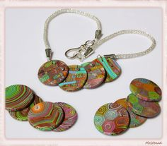 polymer clay disc with wiking knitted chain Polymer Clay, Chain, Bracelets, Jewelry, Ideas, Fashion, Fimo, Christmas Jewelry, Beads