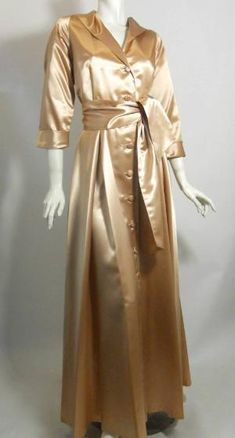 1940s champagne slipper satin dressing gown, DCV