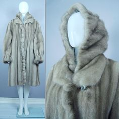 RUFFLED Grey HOODED Blue Iris MINK  FUR Swing COAT Cape Jacket L-XL