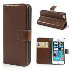 Köp Läderplånbok Apple iPhone 5/5S/SE brun online: http://www.phonelife.se/laderplanbok-apple-iphone-5-5s-se-brun