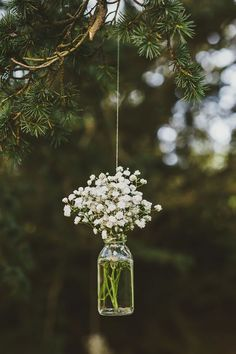 Love this hanging mason jar flower vase with Baby's Breath for vintage rustic wedding decor! Victoria and Richard had a Scottish wedding with a summer fête theme Deco Champetre, Rustic Mason Jars, Deco Floral, Woodland Wedding, Wedding Forrest, Whimsical Wedding Theme, Tree Themed Wedding, Themed Weddings, Wedding Venues