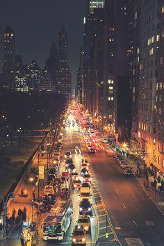 автомобили, город, побег, огни, Нью-Йорк, ночь, улица, трафик, урбан