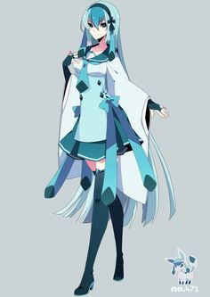 human version gijinka pokemon, glaceon