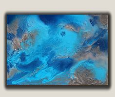 blue abstract painting, ocean painting, turquoise modern art, silver, giclee print, seascape, beach art, blue home decor, Julia Apostolova by juliaapostolova. Explore more products on http://juliaapostolova.etsy.com
