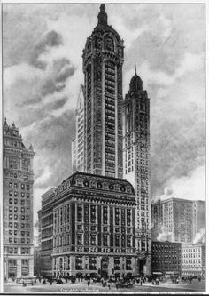 New York Architecture Images- Singer Building	 New York Architecture Images- Gone Singer Building Tallest building in the world, 1908-1909    architect  Ernest Flagg location  Broadway and Liberty Street date  1906-1908, demolished 1968. style  Second Empire Baroque construction  steel frame, limestone trim, red brick type  Office Building