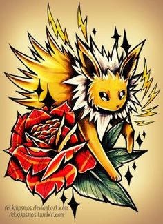 the Pokemon Jolteon -- drawn with: Prismacolor markers, Prismacolor colored pencils, Photoshop STORE Pokemon Manga, All Pokemon, Cute Pokemon, Pokemon Fusion, Pokemon Sleeves, Cool Pokemon Wallpapers, Pokemon Craft, Pikachu, Pokemon Tattoo