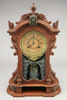 Ansonia 'Monarch' walnut mantel clock.