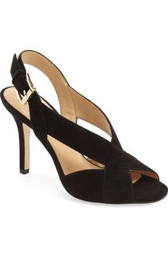 Michael Michael Kors 'becky' Slingback Sandal (women) In Black Suede Walk In My Shoes, Fab Shoes, Dream Shoes, Sock Shoes, Pump Shoes, Shoe Boots, Types Of Sandals, Cinderella Shoes, Shoe Wardrobe