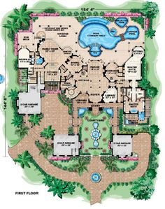 Love the private garden area for the master suite. Florida Style House Plans - 9870 Square Foot Home , 2 Story, 6 Bedroom and 1 Bath, 6 Garage Stalls by Monster House Plans - Plan Dream House Plans, House Floor Plans, My Dream Home, Mansion Floor Plans, Dream Houses, Large House Plans, Monster House Plans, Florida Style, House Blueprints