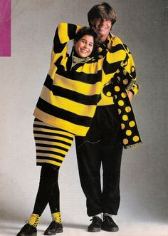 Esprit 1987 ad. yellow and black stripes/polka dots bumble bee