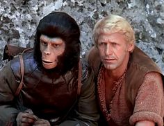 Galen (Roddy McDowall) & Colonel Alan Virdon (Ron Harper) - Planet of the Apes: The TV Series Iconic Movies, Sci Fi Movies, Movie Tv, Monkey Pictures, Sci Fi Tv Series, Abandoned Ships, Planet Of The Apes, Great Tv Shows, Cartoon Tv