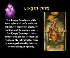 King Of Cups, Tarot Meanings, Strong Relationship, Meant To Be, Suit, Feelings, Learning, Studying, Teaching