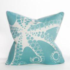 Tentacles / Aqua – Indoor / Outdoor - Laguna Collection | Beach Pillow | Coastal Pillow|  SOLD OUT