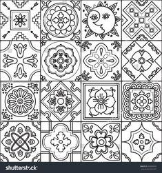 Talavera set of 16 mexican tiles. Adult coloring design pattern Talavera set of 16 mexican tiles. Stencil Patterns, Zentangle Patterns, Tile Patterns, Pattern Art, Embroidery Patterns, Pattern Design, Pottery Patterns, Mexican Folk Art, Mexican Tiles