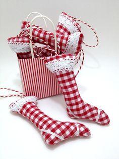 Red gingham hanging star Christmas by LaPetiteMaisonBlanc on Etsy