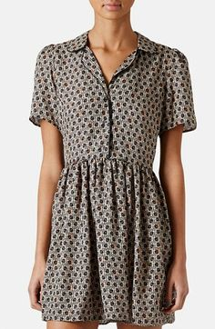 Topshop Piped Tile Print Shirtdress++NORDSTROM