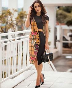 Plus size women navy blue a-line going out sleeve elegant paneled dress. African Wear Dresses, Batik Fashion, Batik Dress, Ankara Dress, Curvy Women Fashion, Dress Patterns, Blouse Designs, Designer Dresses, Casual Dresses