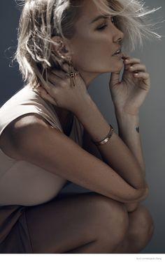 Lara Bingle Wears Neutral Style in Elle.com Shoot by Margaret Zhang