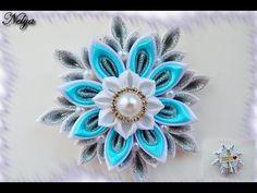 "Заколочки ""Снежинки"" в технике канзаши / Clip ""Snowflake"" in the technique of kanzashi - YouTube"