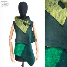 Asymmetric art vest in yummy green shades and blue. Reversible and one of a kind, this wearable art garment can be transformed in may fashionable ways!