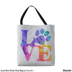 Shop Love Paw Print Tote Bag created by PawArt. Paw Print Art, Printed Tote Bags, Dog Lover Gifts, Cat Lovers, Reusable Tote Bags, Pets, Animals And Pets, Gifts For Dog Lovers