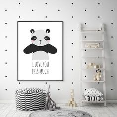 Keep your childs room on trend and under budget with this digital panda printable! Bedroom Themes, Kids Bedroom, Bedroom Decor, Bedrooms, Nursery Wall Art, Nursery Decor, Panda Nursery, Blue Ceilings, Scandinavian Style