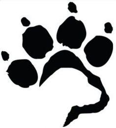 Labrador face in paw print dog tattoo