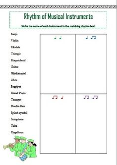 $  Music Theory: 12 RHYTHM Worksheets using ta and ti-ti. Match the word to the correct rhythm