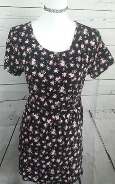 361dd3039be6 DIVIDED H amp M WOMENS Dress Size 14 floral rose print black short sleeve  mini -