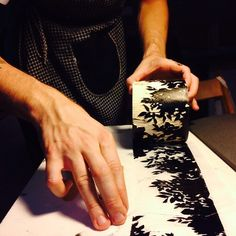 roller print making - leaf pattern