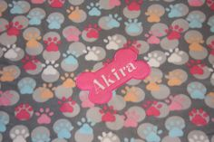 Custom Dog Blanket Personalized Pet Blanket Monogrammed dog blanket Embroidered dog blanket Personalized Paw Prints Made to Order by RedBobbinDesigns on Etsy
