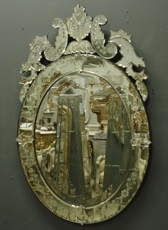 Ref 5503 - Antique Venetian Mirror - Century oval crested Venetian mirror with reverse etched decoration to outer margins and crest. Original glass bevelled to centre. Home Decor Store, Painting Frames, French Mirror, Glass, Wall Accessories, Mirror Photo Frames, Venetian Mirrors, Mirror, Venetian